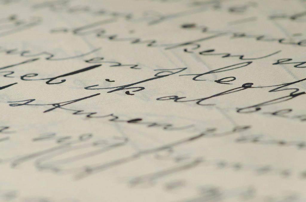 letter, written, ink