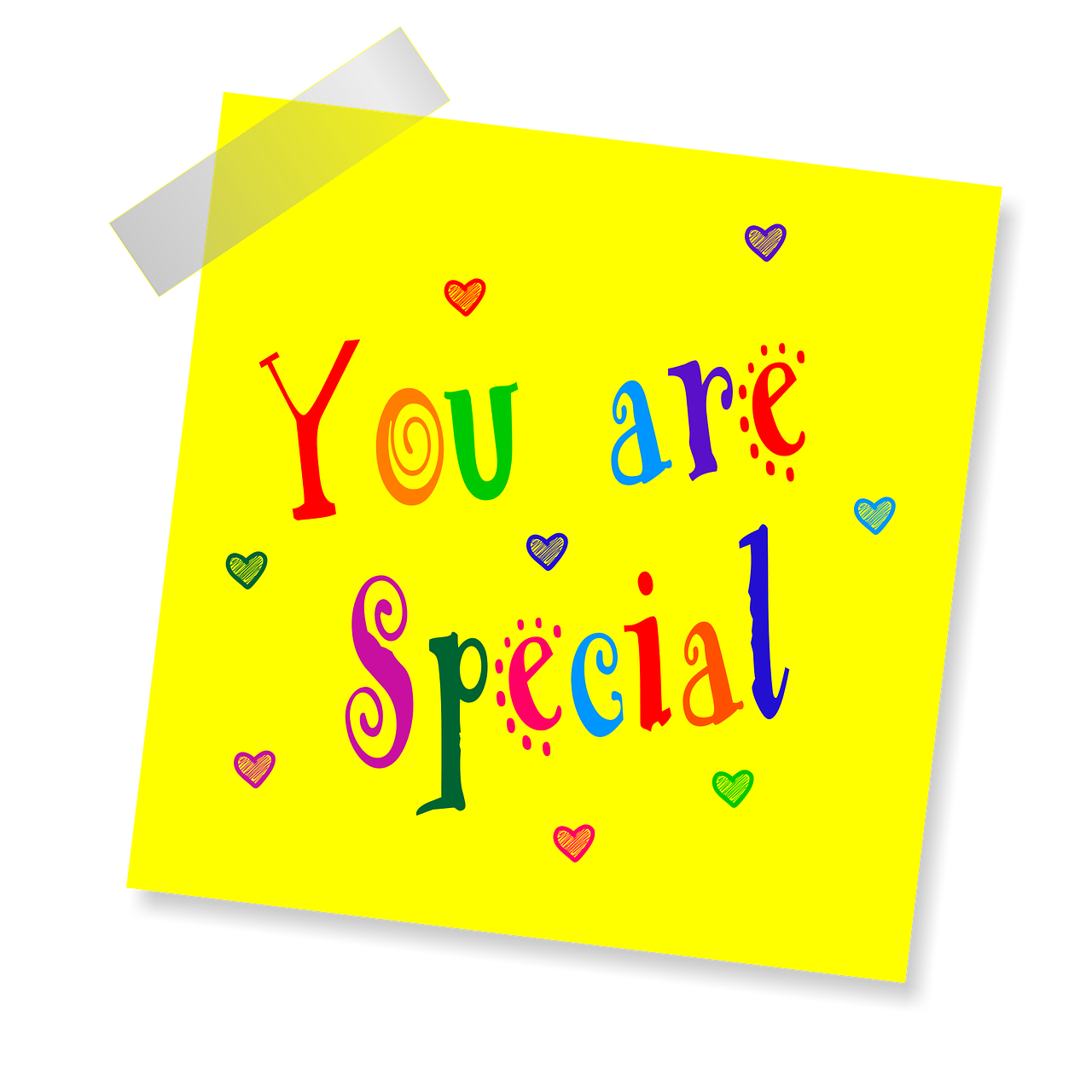 you are special, yellow sticker, note-1470800.jpg
